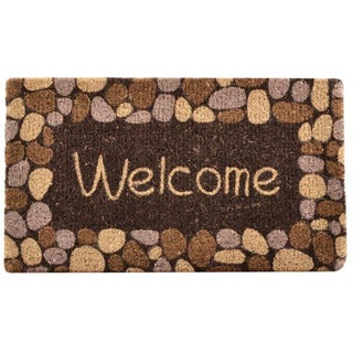 HomeTrax Designs Welcome River Rocks Coir Mat (18-inch x 30-inch)