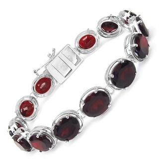 Malaika Sterling Silver 45 1/2ct Garnet Bracelet