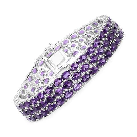 Malaika Sterling Silver 27 1/4ct Amethyst Bracelet