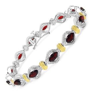 Olivia Leone Two-tone Sterling Silver 8 1/2ct Garnet Bracelet