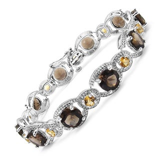 Olivia Leone Sterling Silver 21 1/10ct Smoky Topaz and Citrine Bracelet