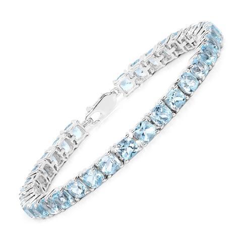 Olivia Leone Sterling Silver 21 1/2ct Blue Topaz Bracelet