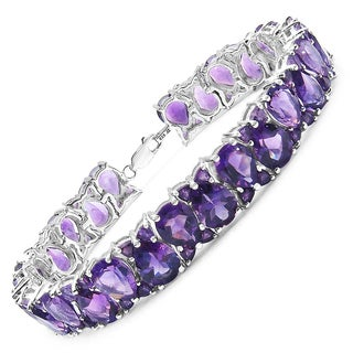Malaika Sterling Silver 28 3/8ct Amethyst Bracelet