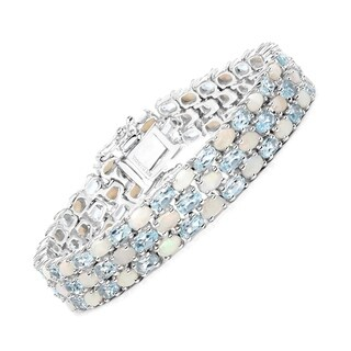 Malaika Sterling Silver 25 7/8ct Opal and Blue Topaz Bracelet