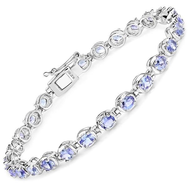 Olivia Leone Sterling Silver 4 3/5ct Tanzanite Bracelet. Opens flyout.