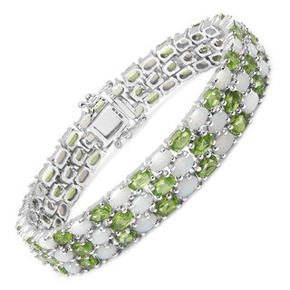 Malaika Sterling Silver 21 4/5ct Opal and Peridot Bracelet