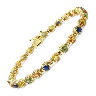 Malaika 14k Yellow Goldplated Sterling Silver 6 1/2ct Multi-sappphire Bracelet