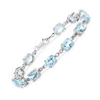 Malaika Sterling Silver 19 1/5ct Blue Topaz Bracelet