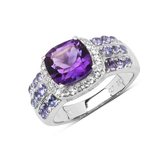 Olivia Leone Sterling Silver 3 1/10ct Amethyst Tanzanite and White Topaz Ring