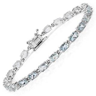 Malaika Sterling Silver 8 4/5ct Aquamarine Bracelet