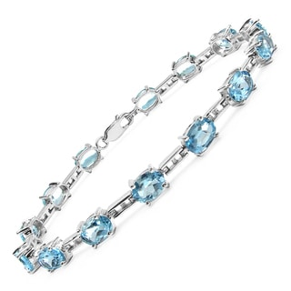Malaika Sterling Silver 14ct Blue Topaz Bracelet