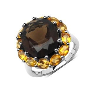 Olivia Leone Sterling Silver 7 7/8ct Smoky Topaz and Citrine Ring