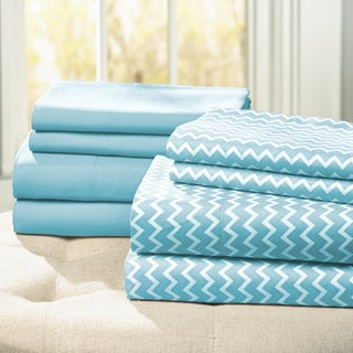 Amraupur Overseas Chrevron Printed/ Solid 8-piece Sheet Set