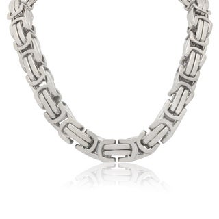 Gioelli Stainless Steel Men's Large Byzantine Necklace
