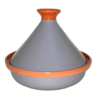 Handmade Le Souk Ceramique Grey Cookable Tagine Pot (Tunisia)