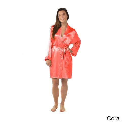 990431198 Leisureland Women's Plus Size Satin Charmeuse Knee-Length Kimono Robe  XXL/XXXL