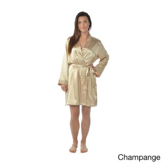 Leisureland Women's Plus Size Satin Charmeuse Knee-Length Kimono Robe XXL/XXXL