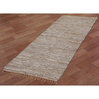 White Matador Leather & Hemp (2.5'x14') Runner
