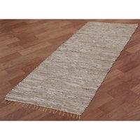 White Matador Leather & Hemp (2.5'x14') Runner - 2.5' x 14'