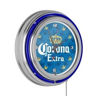 Corona Chrome Double Rung Neon Clock - Griffin - Multi-color