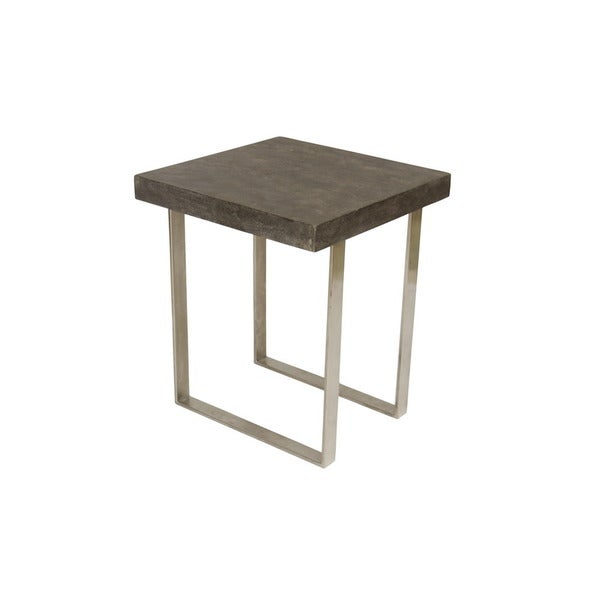 Treasure Trove Accents Concrete Grey And Nickel Square End Table