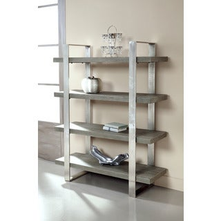 Treasure Trove Accents Concrete Grey and Nickel Etagere 4 Shelves