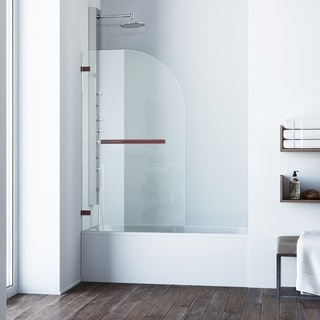 VIGO Orion Clear Curved Bathtub Door in Oil Rubbed Bronze