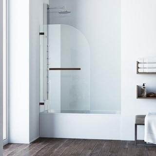 VIGO Orion Clear Curved Bathtub Door in Antique Rubbed Bronze
