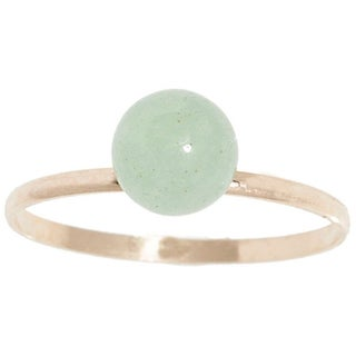 Pori 14k Yellow Gold Genuine Light Green Jade Gemstone Ball Ring