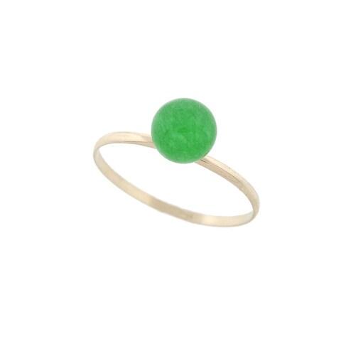 Pori 14k Yellow Gold Genuine Jade Gemstone Ball Ring