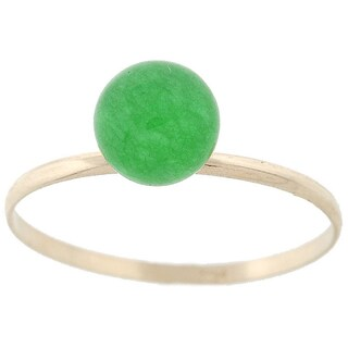 Pori 14k Yellow Gold Genuine Jade Gemstone Ball Ring