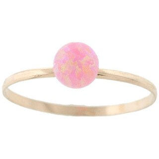 Pori 14k Yellow Gold Created Pink Opal Gemstone Ball Ring