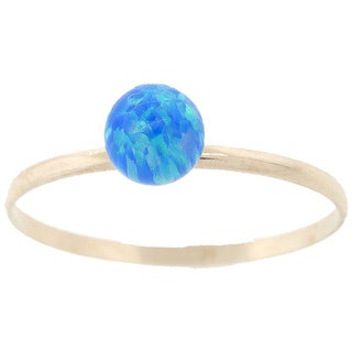 Pori 14k Yellow Gold Created Blue Opal Gemstone Ball Ring