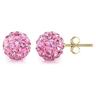 Pori 14k Yellow Gold Rose Pave Crystal 6mm Ball Stud Earrings