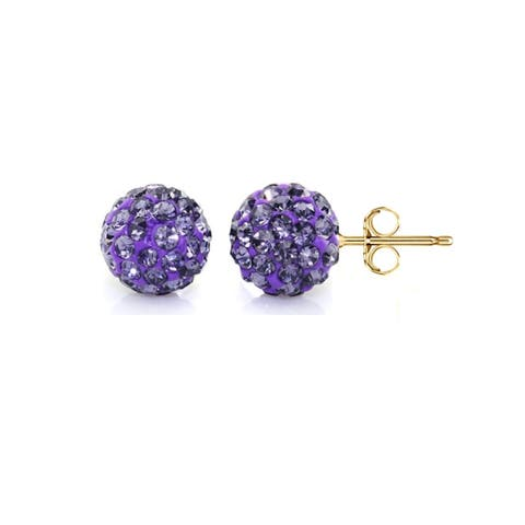 Pori 14k Yellow Gold Tanzanite Pave Crystal 6mm Ball Stud Earrings