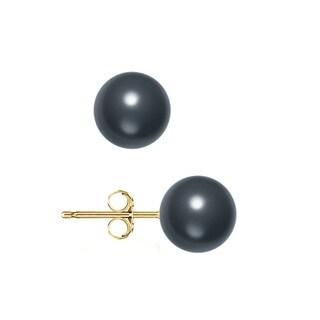 Pori 14k Yellow Gold Crystal Black Pearl Ball Stud Earrings