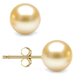 Pori 14k Yellow Gold Crystal Gold Pearl Ball Stud Earrings