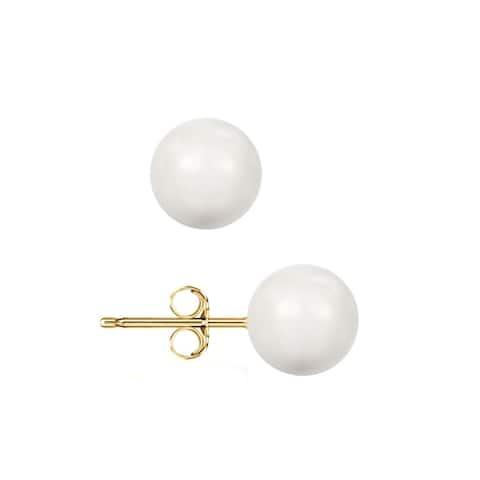 Pori 14k Yellow Gold Crystal White Pearl Ball Stud Earrings