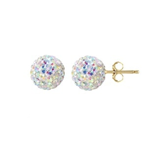 Pori 14k Yellow Gold AB Pave Crystal 6mm Ball Stud Earrings