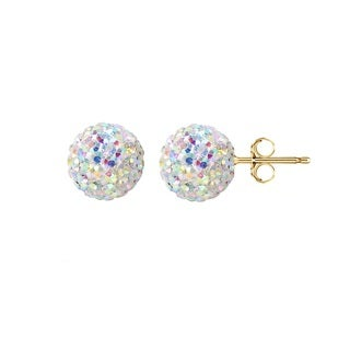 Pori 14k Yellow Gold AB Pave Crystal 6mm Ball Stud Earrings
