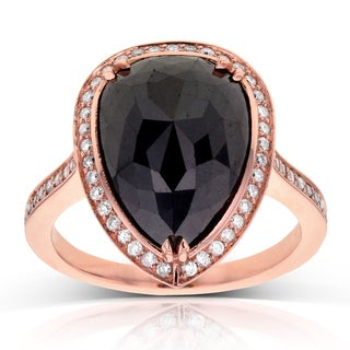 Annello 14k Rose Gold 7 2/5ct TDW Pear Shape Black and White Diamond Ring (G-H, I1-I2)