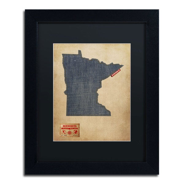 Michael Tompsett 'Minnesota Map Denim Jeans Style' Black Matte, Black Framed Wall Art