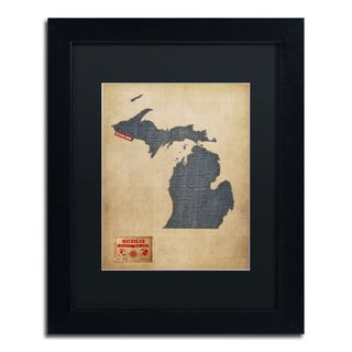 Michael Tompsett 'Michigan Map Denim Jeans Style' Black Matte, Black Framed Wall Art