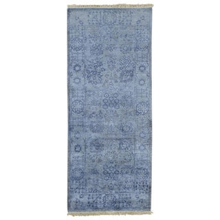 Runner Wool and Viscose Rayon from Bamboo Tabriz Handmade Oriental Rug (2'6 x 6')