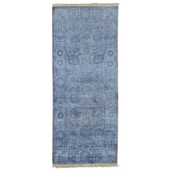 Runner Wool and Viscose Rayon from Bamboo Tabriz Handmade Oriental Rug - 2'4 x 20'1