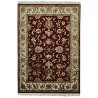 Wool and Silk Burgundy Rajasthan Handmade Oriental Rug - 5' x 7'2
