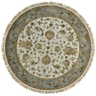 Round Ivory Wool and Silk Rajasthan Handmade Oriental Rug (7' x 7')