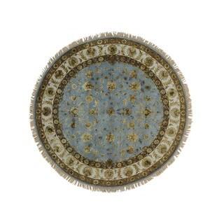 Wool and Silk Round Sky Blue Rajasthan Handmade Oriental Rug (7' x 7')