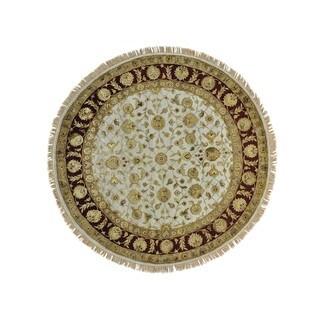 Round Handmade Ivory Rajasthan Oriental Rug Wool and Silk (7' x 7')