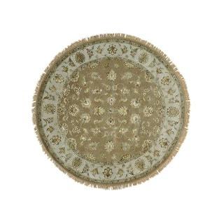 Round Beige Rajasthan Oriental Rug Wool and Silk Handmade (7'1 x 7'2)